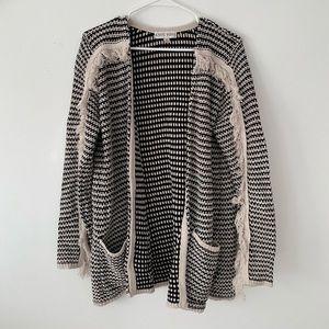 Knox Rose grey cardigan sweater. Fringe. Medium.